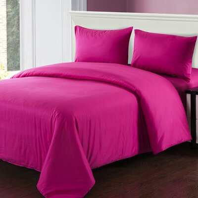 4 Piece Comforter Set Size: Full, Color: Pink
