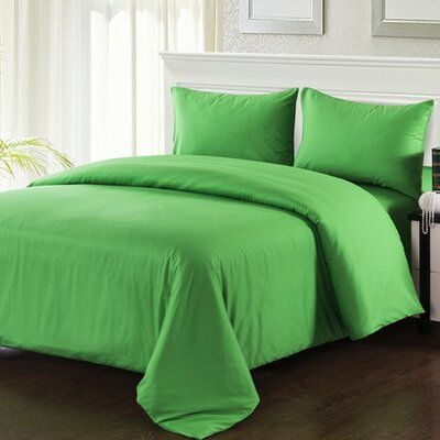 4 Piece Comforter Set Size: King, Color: Green