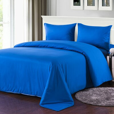 4 Piece Comforter Set Color: Blue, Size: Full