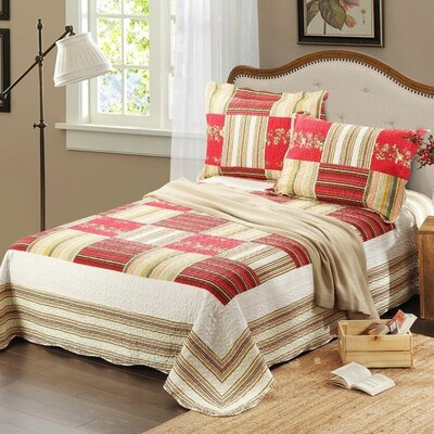 3 Piece Reversible Bedspread Set Size: Full