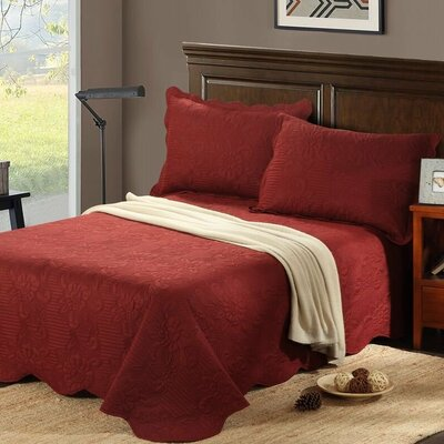 Autumn Marsala Reversible Bedspread Set Size: Full