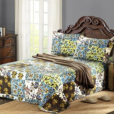Plaid Mystical Autumn Leaves Reversible Bedspread Set Size: Queen