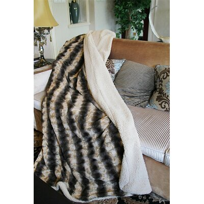 Striped Faux Fur Throw Blanket Size: 63 x 87
