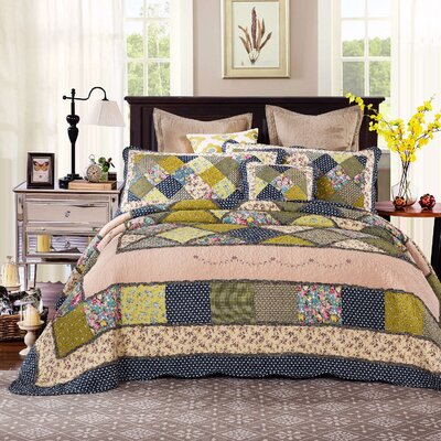 Spring Shower Reversible Quilt Set Size: Full