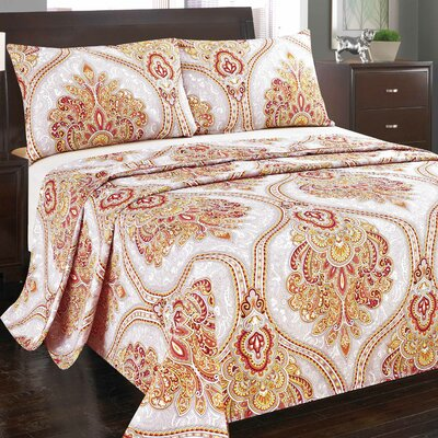 Sunshine Festival 1000 Thread Count Flat Sheet Set Color: Red/Gold, Size: Queen