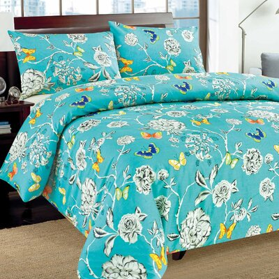 Butterfly Wonderland Duvet Cover Set Size: Queen