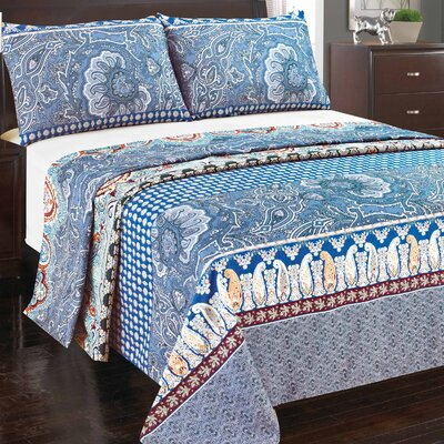 Paisley Monarch Flat Sheet Set Size: Queen