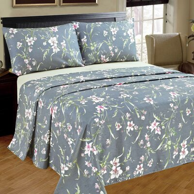 Cherry Blossom 100% Cotton Flat Sheet Set Size: Queen