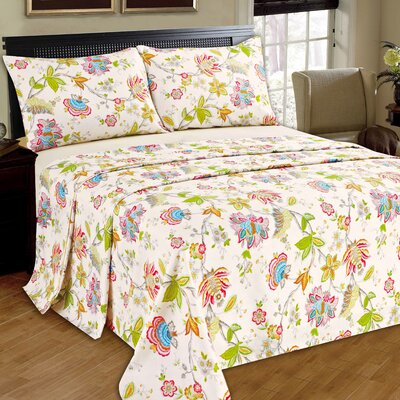 Quiet Morning Garden 100% Cotton Flat Sheet Set Size: Queen