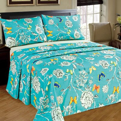 Butterfly Wonderland 100% Cotton Flat Sheet Set Size: Queen