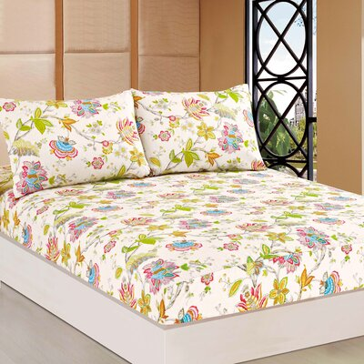 Quiet Morning Gadern 100% Cotton Fitted Sheet Set Size: Full