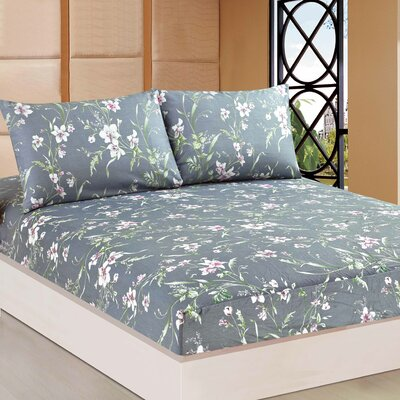 Cherry Blossom 100% Cotton Fitted Sheet Set Size: California King