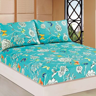 Wonderland 100% Cotton Fitted Sheet Set Size: Full
