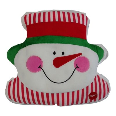 Chilly Snowman Cute Christmas Lights LED Light up Throw Pillow