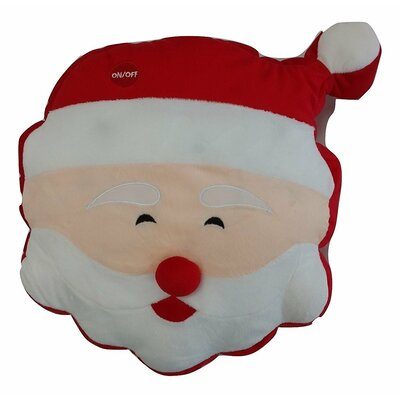 Cheery Santa Cute Christmas Lights LED Light up Throw Pillow