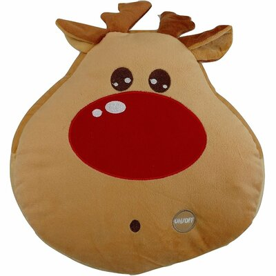 Red Nosed Reindeer Cute Christmas Lights LED Light up Throw Pillow