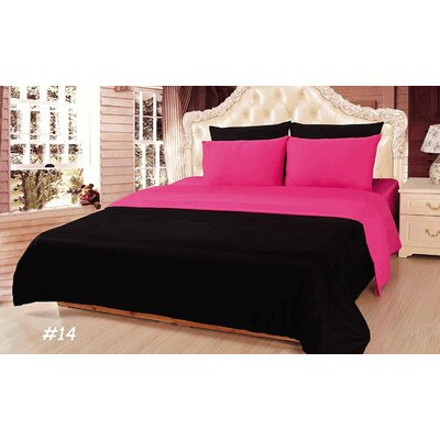 Reversible Comforter Set Size: California King, Color: Pink/Black