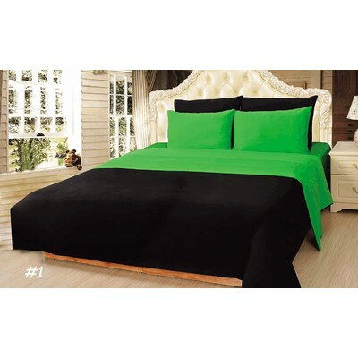Reversible Comforter Set Size: Full, Color: Green/Lime/Black