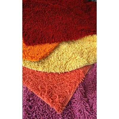 100% Cotton Hot Pink Shag Area Rug Rug Size: 2 x 3