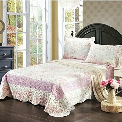 Wildflower Picnic 3 Piece Bedspread Set Size: King