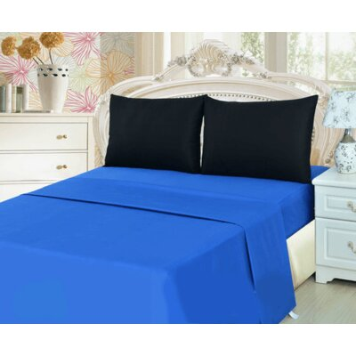 100% Cotton Sheet Set Size: Twin, Color: Blue/Black