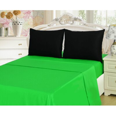 100% Cotton Sheet Set Size: Twin, Color: Green/Black