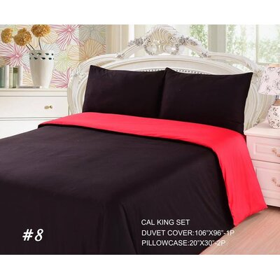 Duvet Cover Set Size: Queen, Color: Red/Black
