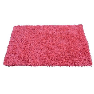 100% Cotton Salmon Coral Pink Shag Area Rug Rug Size: Rectangle 18 x 28