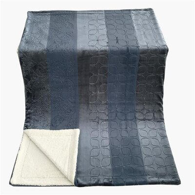 Embossed Sherpa Blanket Size: 90 L x 90 W, Color: Rainy Day Gray