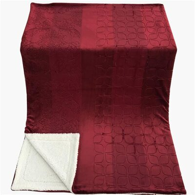 Embossed Sherpa Blanket Size: 50 L x 60 W, Color: Merlot Red