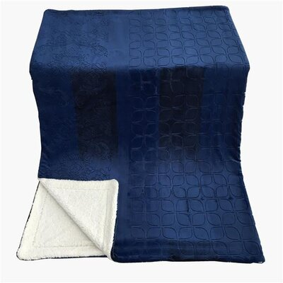 Embossed Sherpa Blanket Size: 63 L x 87 W, Color: Cozy Night Blue