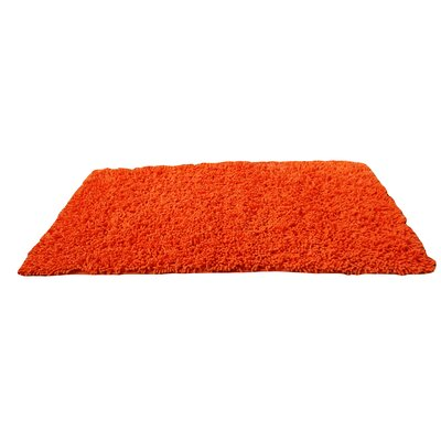 100% Cotton Solid Sunny Orange Shag Area Rug Rug Size: 18 x 28
