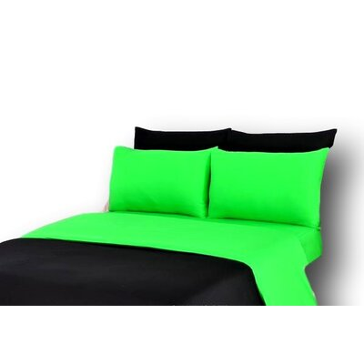 Duvet Cover Set Size: King, Color: Green/Black