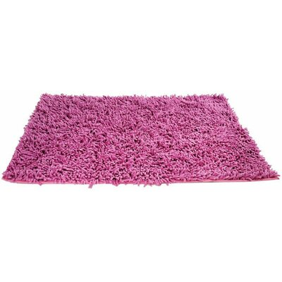 100% Cotton Hot Pink Shag Area Rug Rug Size: Rectangle 18 x 28