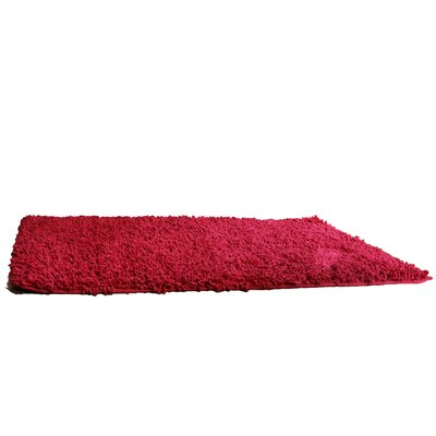 100% Cotton Chenille Solid Dark Raspberry Red Area Rug Rug Size: Rectangle 18 x 28