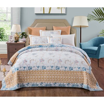 Belina Cotton Floral Embroidery Quilt Size: Queen