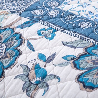 Beallsville Cotton Floral Patchwork Elegance Quilt Size: California King