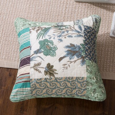 Evan Floral Patchwork Forest Glade Cotton Pillow Cover