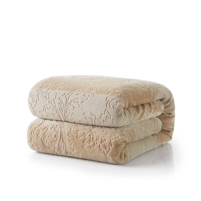 Embossed Sherpa Blanket Size: 90 L x 90 W, Color: Bubbly Champagne