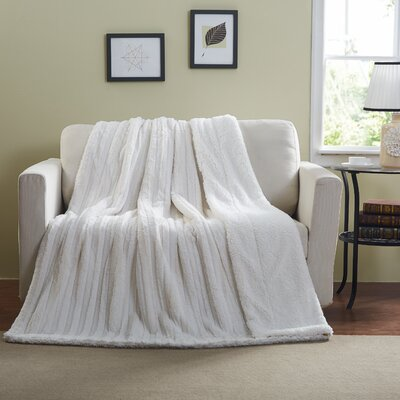 Aresford Polar White Faux Fur Blanket Size: King