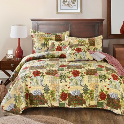 Ursula Patchwork Quilted Coverlet Bedspread Set Size: Queen