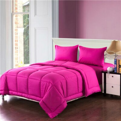 Box Stitched Comforter Set Color: Pink, Size: King