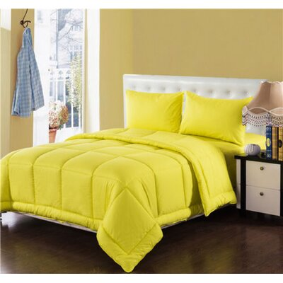 Box Stitched Comforter Set Size: King, Color: Yellow
