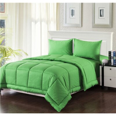 Box Stitched Comforter Set Size: Twin, Color: Green