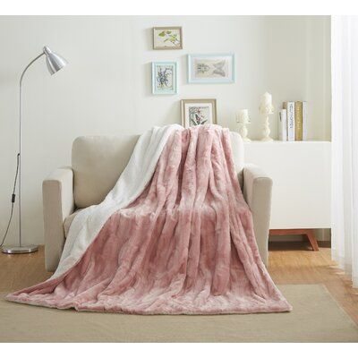 Faux Fur Soft Throw Blanket Size: 90 L x 90 W, Color: Dusty Rose