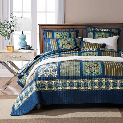 Sancerre 100% Cotton Reversible Coverlet Set Size: Full