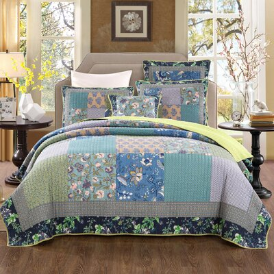 Roquefort 100% Cotton Reversible Coverlet Set Size: California King