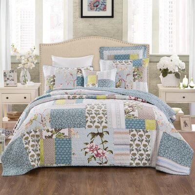 Thayne 100% Cotton Reversible Coverlet Set Size: King