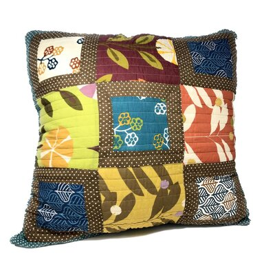 Auserine Summer Day Party Patchwork Floral Cotton Euro Pillow Cover
