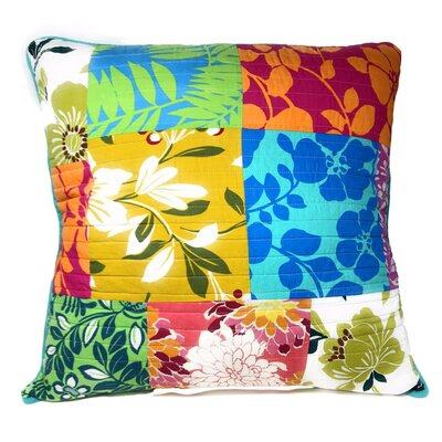 Ramblewood Flower Power Party Patchwork 100% Cotton Euro Pillow Cover